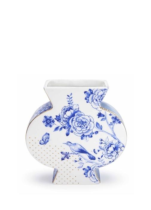 Royal Büyük Boy Beyaz Mavi Vazo