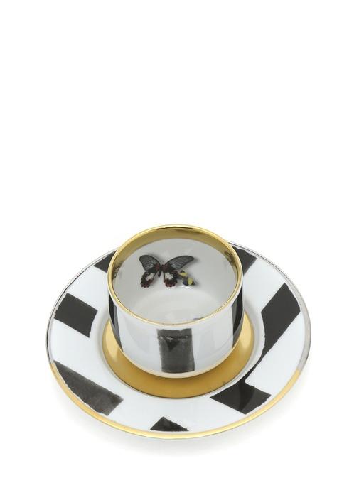 Sol Y Sombra Beyaz Siyah Porselen KahveFincanı