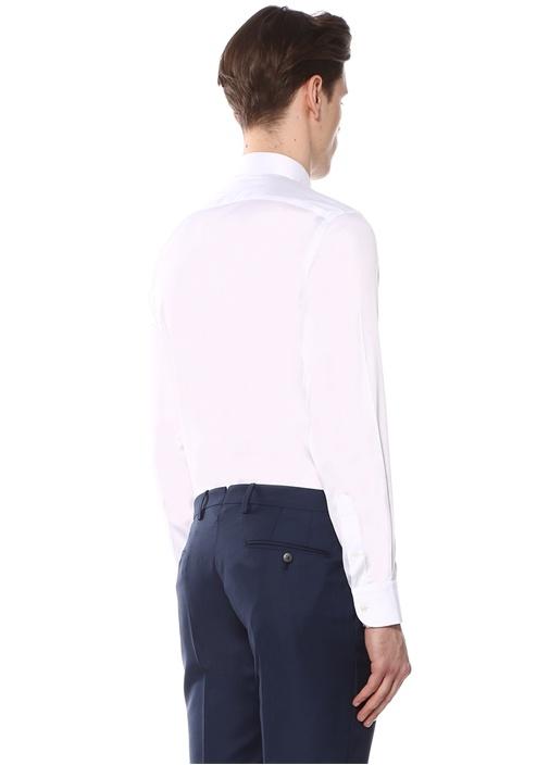 Custom Fit Beyaz Klasik Yaka Gömlek