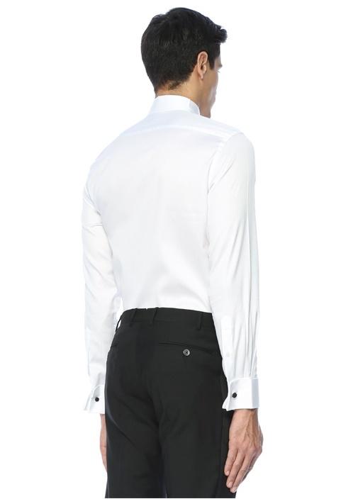 Beyaz Standart Fit Ata Yaka Smokin Gömleği