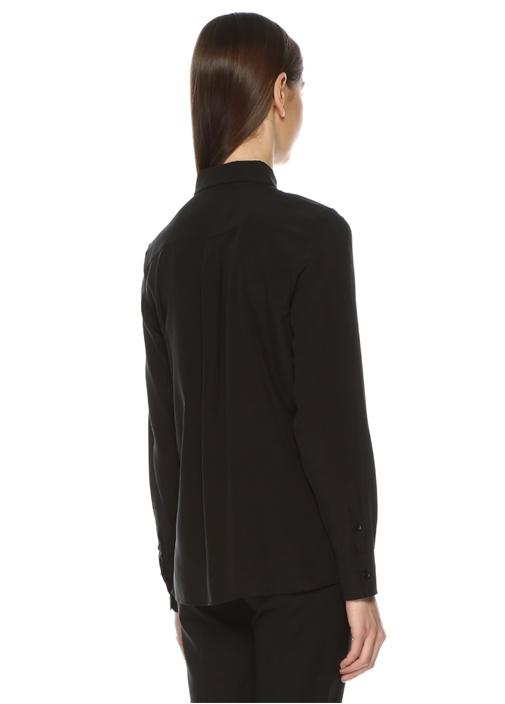 Siyah İngiliz Yaka Klasik İpek Gömlek