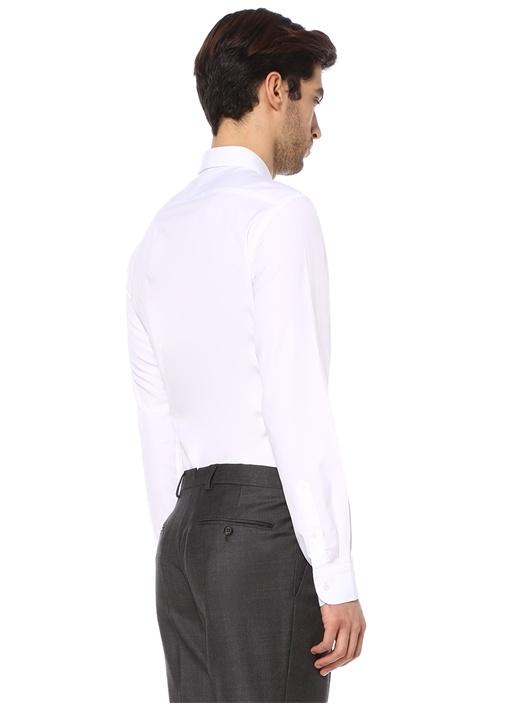 Custom Fit Beyaz Modern Yaka Poplin Gömlek