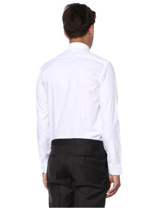 Custom Fit Beyaz Modern Yaka Oxford Gömlek