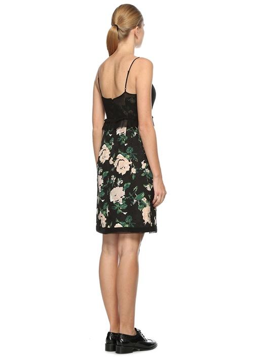 İnce Askılı Çiçek Desenli Midi Elbise