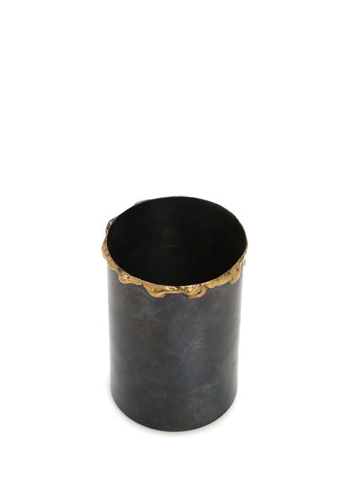 Antrasit Gold Detaylı Bakır Vazo