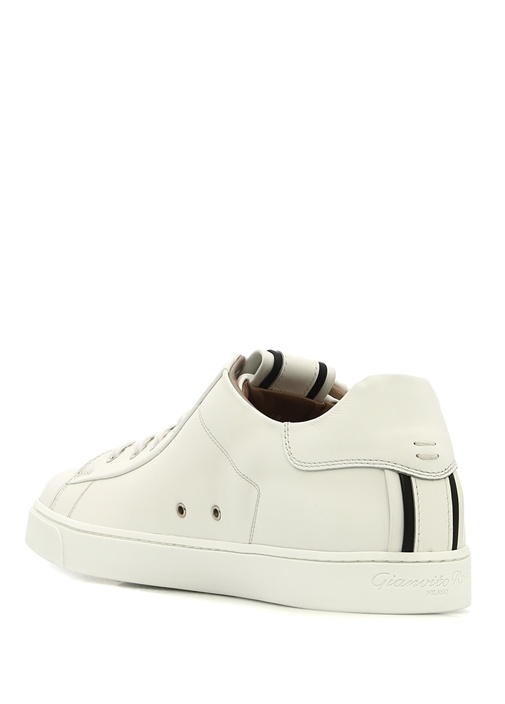 David Beyaz Şeritli Kadın Deri Sneaker