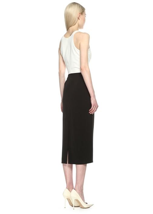 Siyah Beyaz Arkası Yırtmaçlı Midi Kolsuz Elbise