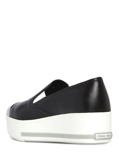Siyah Önü Silver Detaylı Kadın Deri Sneaker