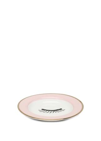 Miss Etoile Beyaz Kirpik Baskılı Seramik Çay Tabağı Pembe Ürün Resmi