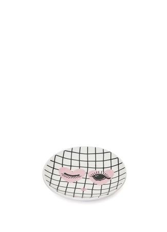 Miss Etoile Beyaz Kalpli Göz Baskılı Porselen Çay Tabağı Siyah Ürün Resmi