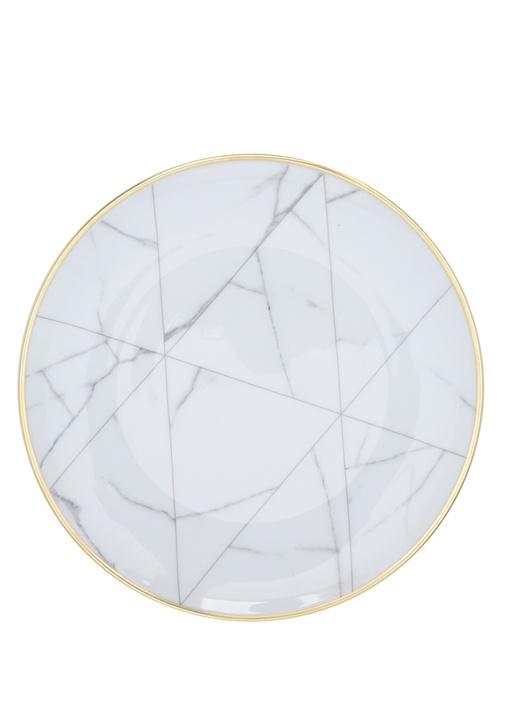 Carrara Mermer Desenli Porselen Tereyağlık