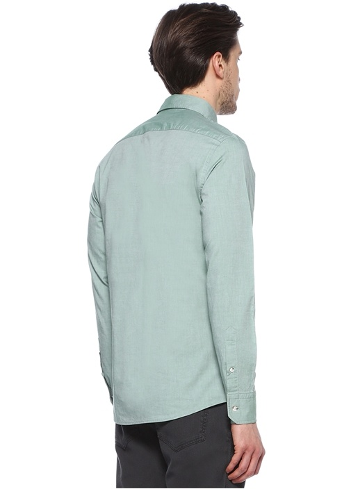 Yeşil Yıkamalı Slim Fit Oxford Gömlek