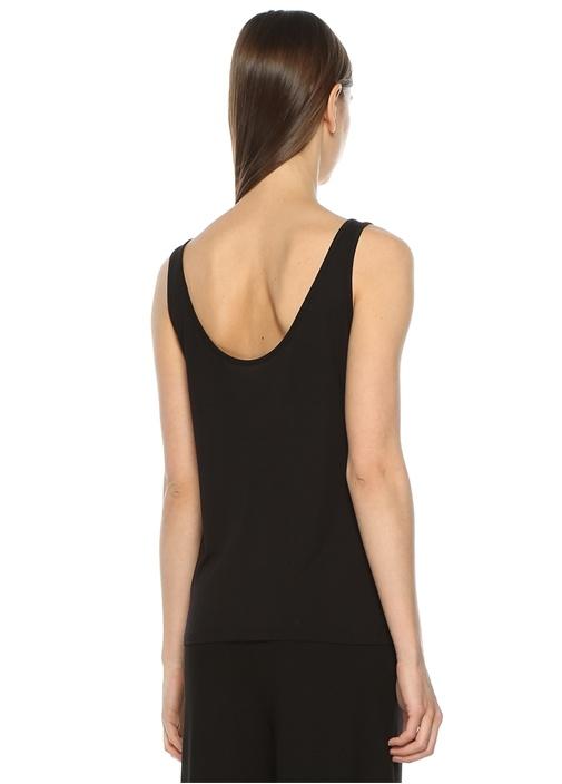 Siyah U Yaka Basic T-shirt