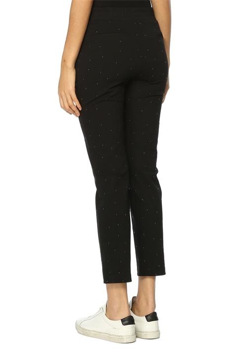 Siyah Normal Bel Dar Paça Jersey Pantolon