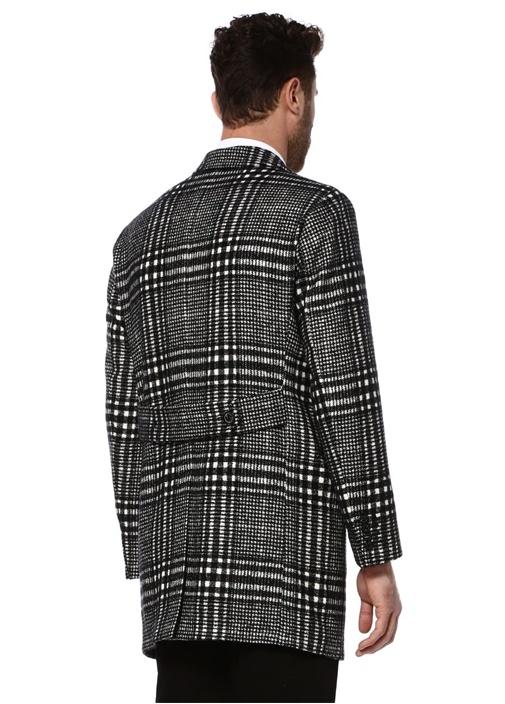 Siyah Mono Yaka Yün Palto