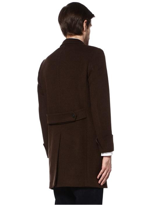Kahverengi Kırlangıç Yaka Yün Palto