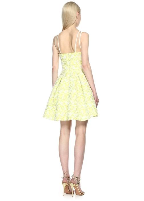 Desenli Sarı Mini Elbise