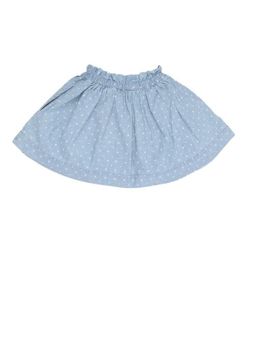 Mavi Puantiyeli Kız Çocuk Mini Etek