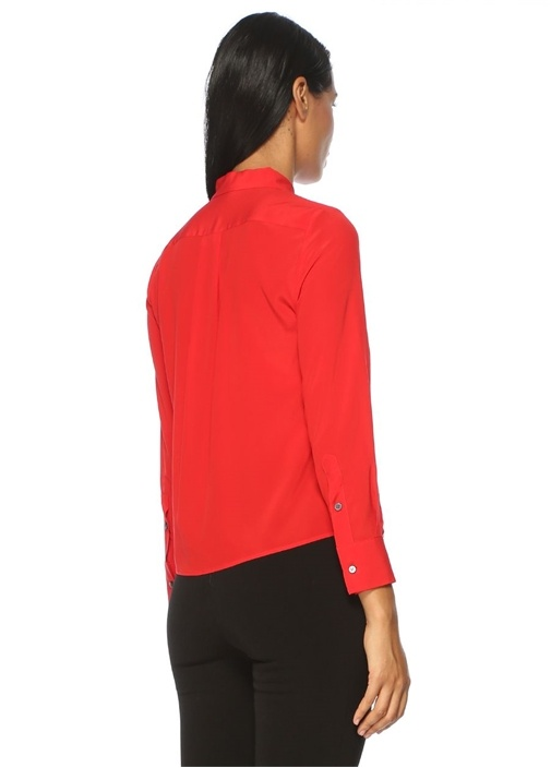 Kırmızı İngiliz Yaka Bluz