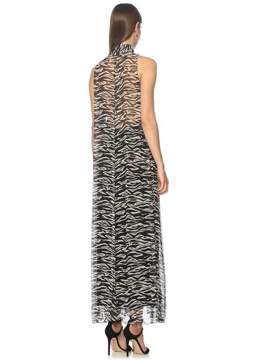 Yakası Bağlamalı Desenli Maxi İpek Abiye Elbise
