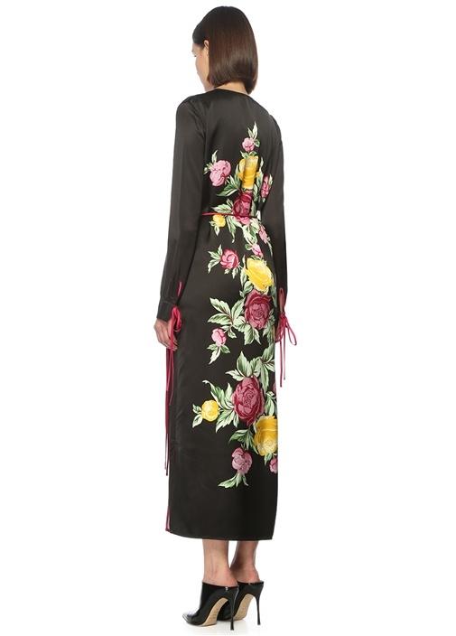 Çiçekli Siyah Midi Anvelop Elbise