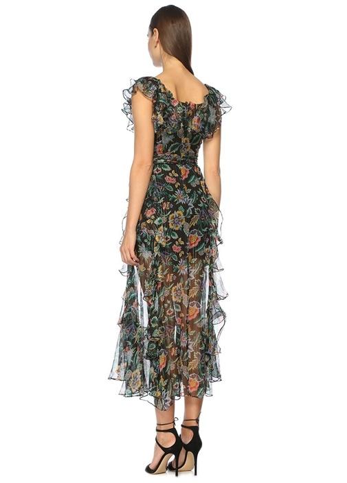 Kayık Yaka Desenli Çok Renkli Midi Elbise