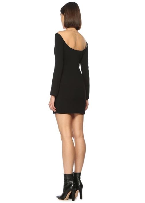 Kayık Yaka Siyah Mini Elbise