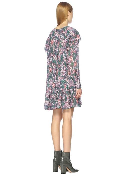 V Yaka Çok Renkli Desenli Mini Elbise