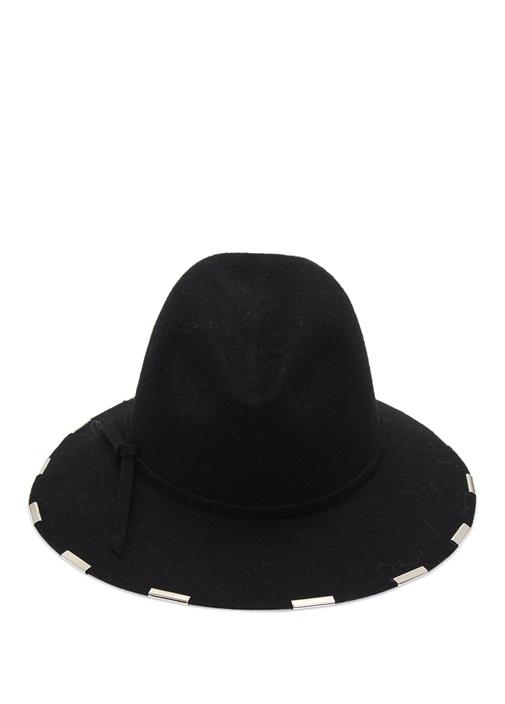 Lacivert Biye Detaylı İnce Bantlı KadınYün Şapka