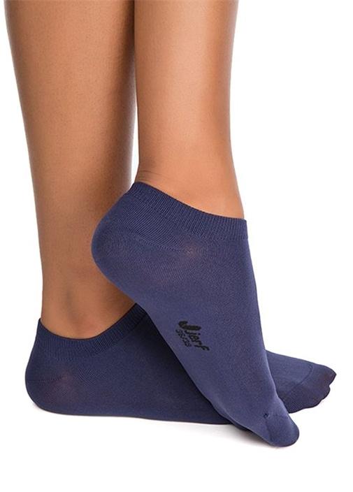 Lacivert Logolu Kadın Patik Çorap