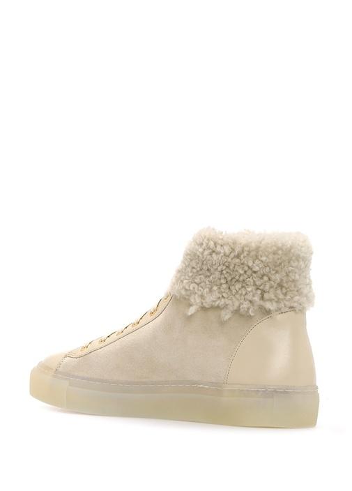 Bej Deri Kadın Sneaker