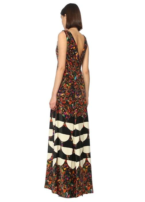 V Yaka Desenli Çok Renkli İpek Maksi Elbise
