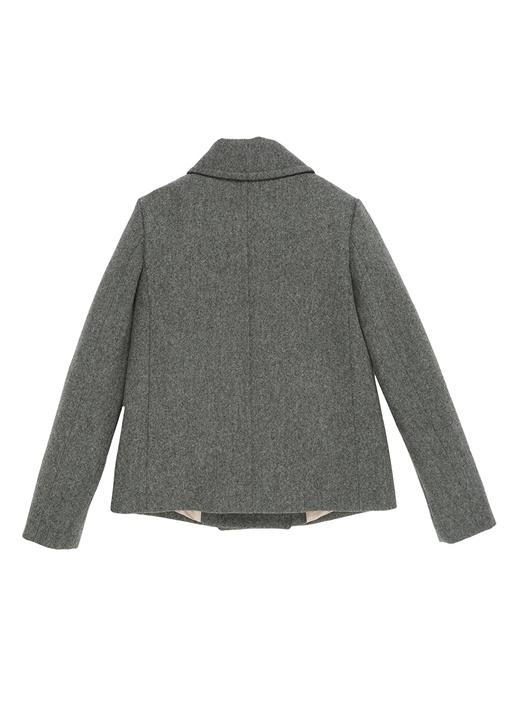 Gri Polo Yaka İnci Düğmeli Kız Çocuk Yün Palto
