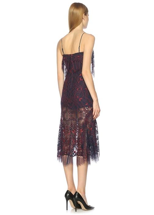 İnce Askılı Lacivert Dantell Midi Elbise