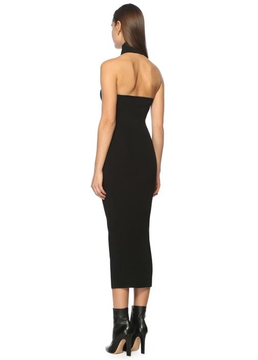 Dik Yaka Sırtı Açık Siyah Midi Elbise