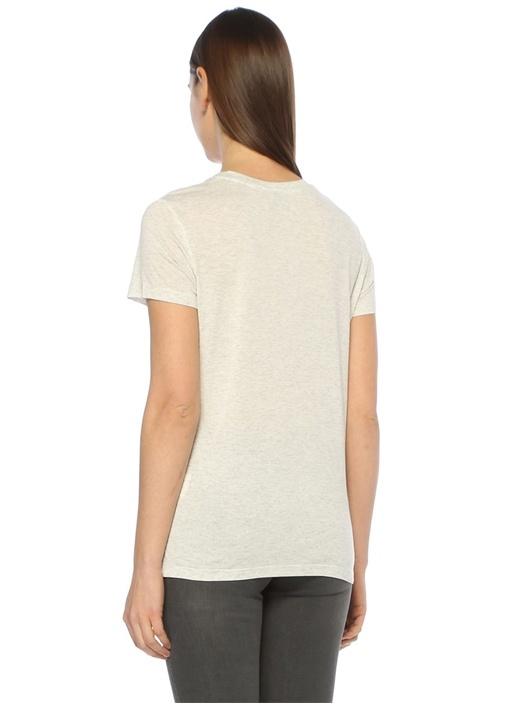 Bej Standart Fit V Yaka Basic Tshirt