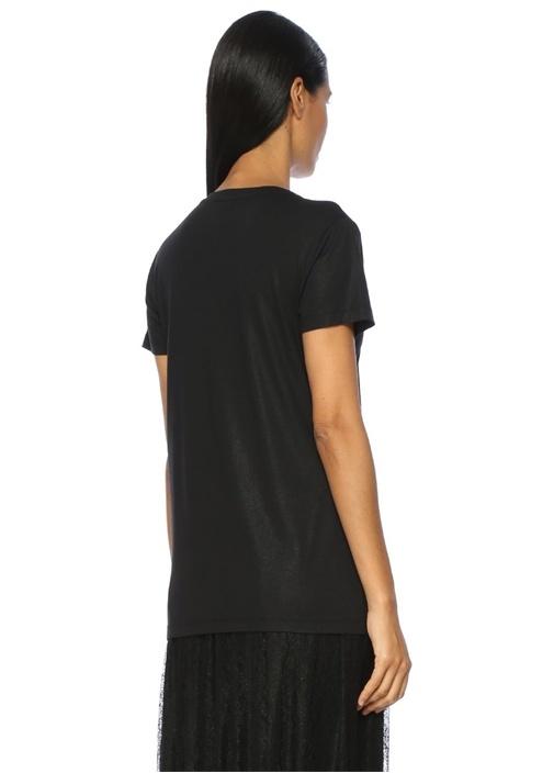 Siyah Yakası Zincir Şeritli V Yaka Tshirt
