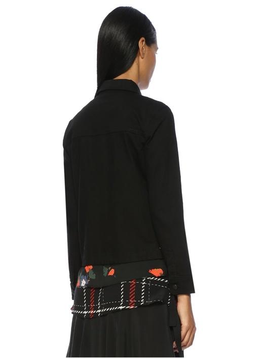 Siyah Yan Detaylı Jean Ceket