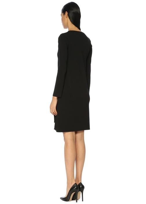 Siyah Dantel Astarlı Triko Mini Elbise