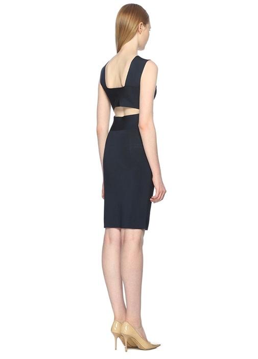 V Yaka Bedene Oturan Lacivert Mini Elbise