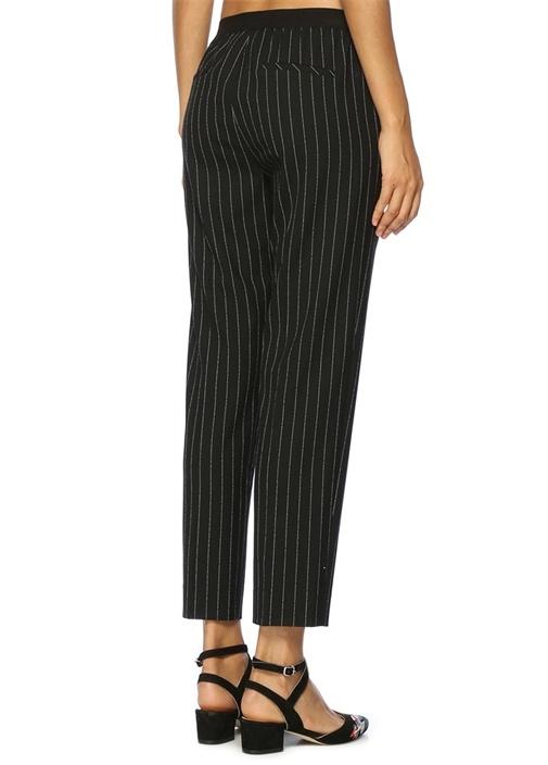 Siyah Çizgili Beli Lastikli Pantolon