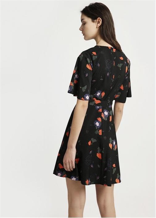 Siyah Kolları Volanlı Çiçek Desenli Mini Elbise