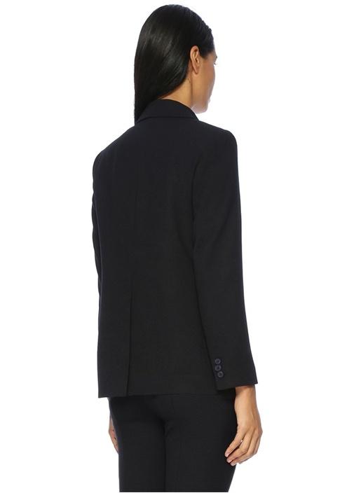 Siyah Pike Dokulu Blazer Ceket