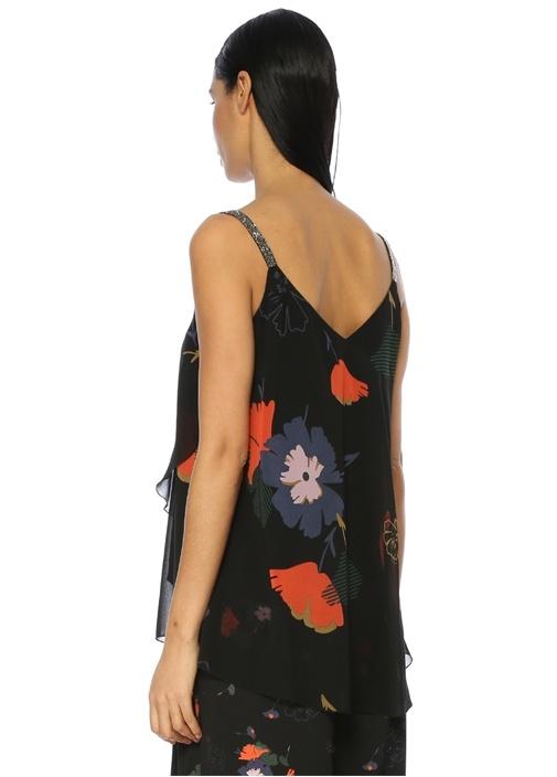 Siyah Çiçek Desenli Abiye Bluz