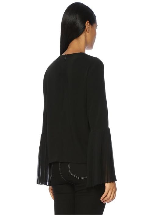 Siyah Şifon Detaylı Bluz
