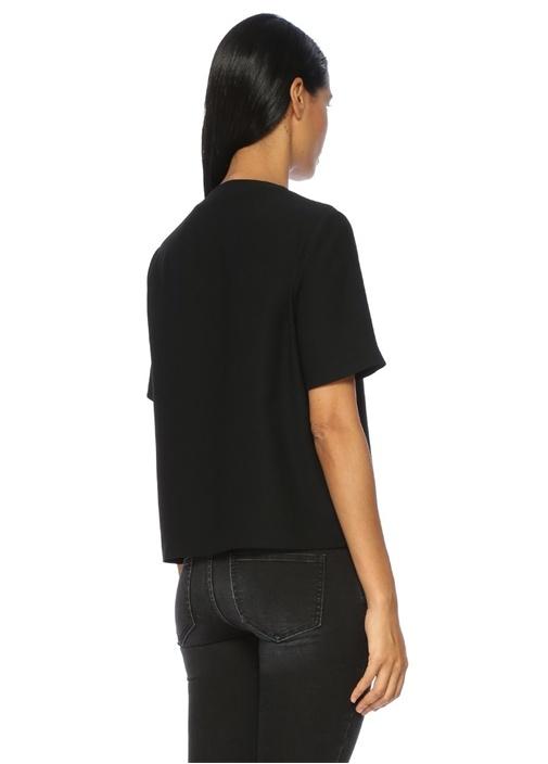Siyah Kruvaze Kısa Kollu Krep Bluz