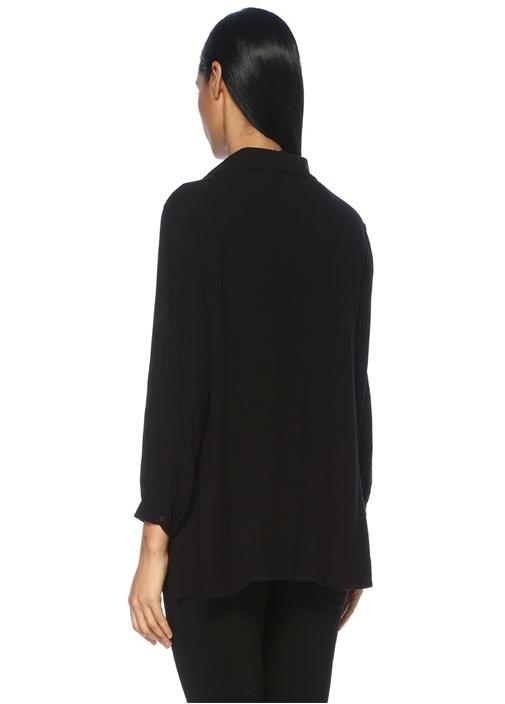 Siyah V Yaka Büzgülü Bluz