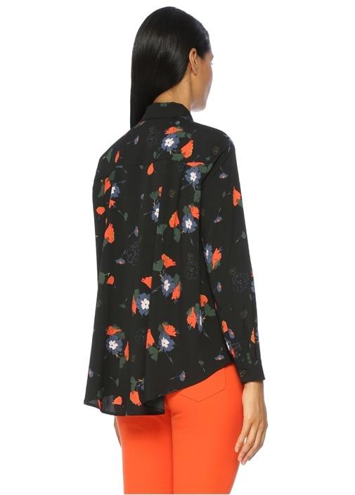 Çiçek Desenli Uzun Kollu İpek Casual Fit Gömlek