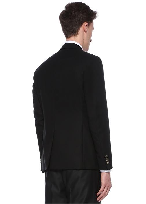 Siyah Kelebek Yaka Dokulu Blazer Ceket