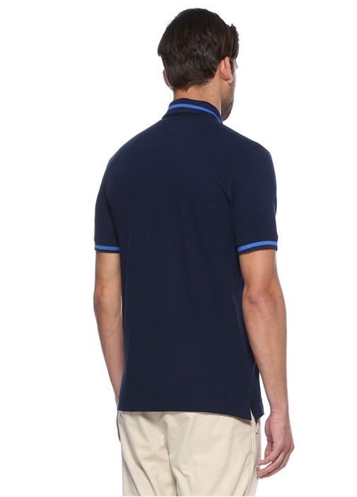 Lacivert Beyaz Comfort Fit Polo Yaka Tshirt